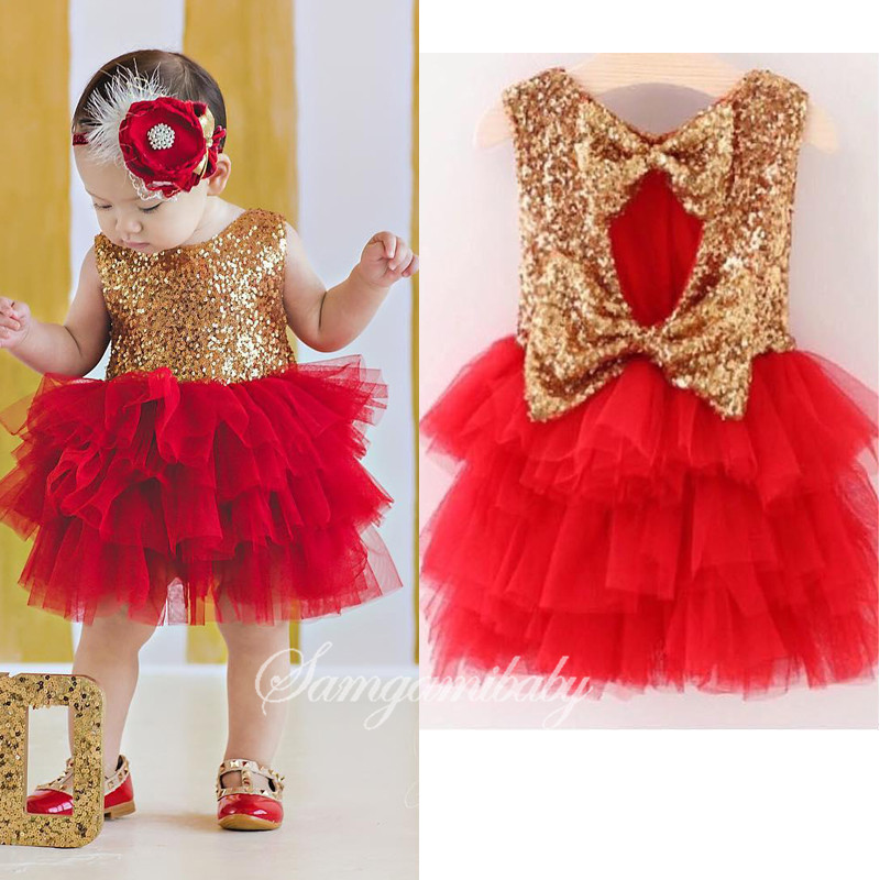 Minigaga foreign trade children's clothing 2017 summer new dresses girls golden bare back sequin skirt L7008