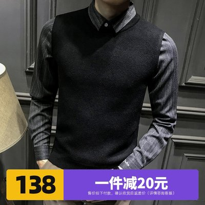 Men's 2020 new shirt collar fake two-piece sweater men plus velvet autumn business jacket trend knitted men's clothing