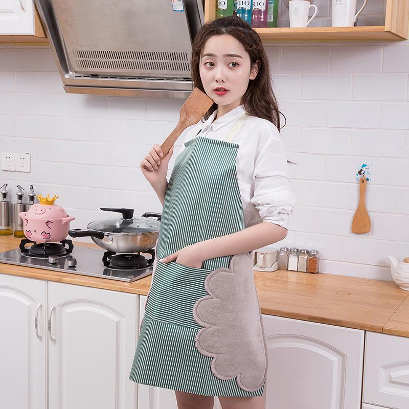 可擦手围裙袖套韩版时尚可爱厨房围腰工作服防水防油厨师罩衣成人