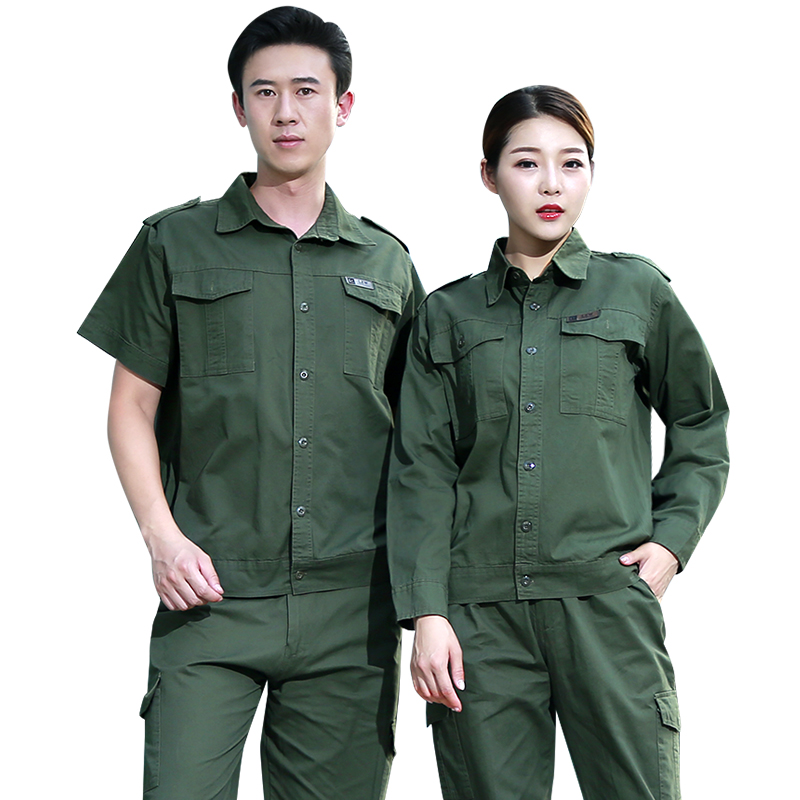 Overalls suit men's clothing cotton anti-hot flame retardant wear-resistant welding summer thin overalls men's short-sleeved