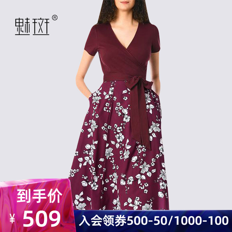 Charm spot European Station Hepburn Wind retro skirt high waist short-sleeved V-neck waist dress in the long paragraph printing a word skirt