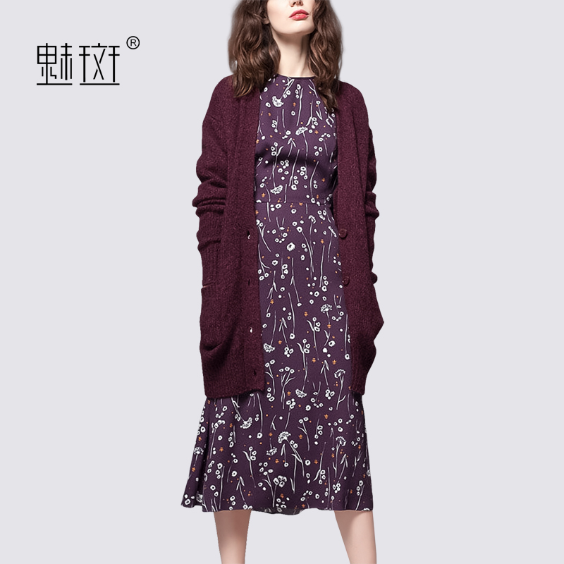 Glamour spot long knitted jacket fashion print dress two-piece set women's spring 2020 new foreign gas age reduction set