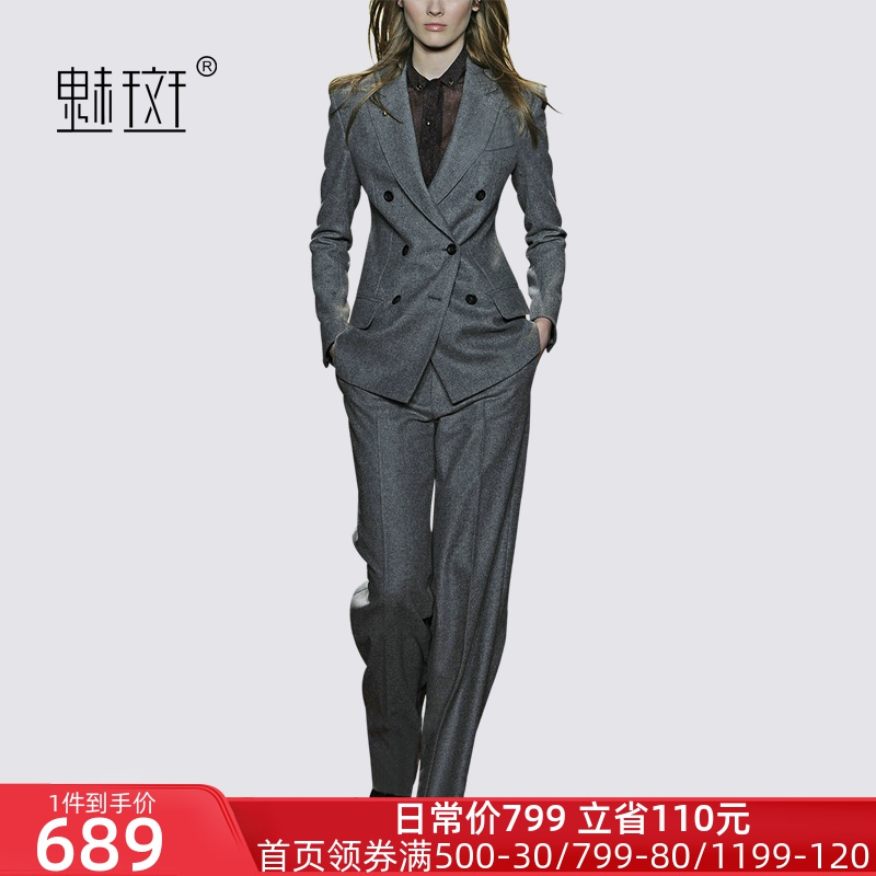Glamour dress professional suit suit women's spring 2020 new small suit wide-legged pants are fitted with two sets of fashion