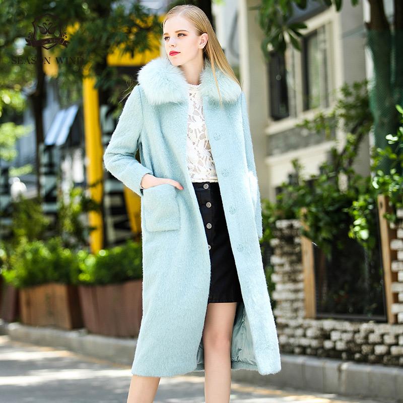 季候風新品毛領羊駝毛簡約中長款百搭H型單排扣大衣女
