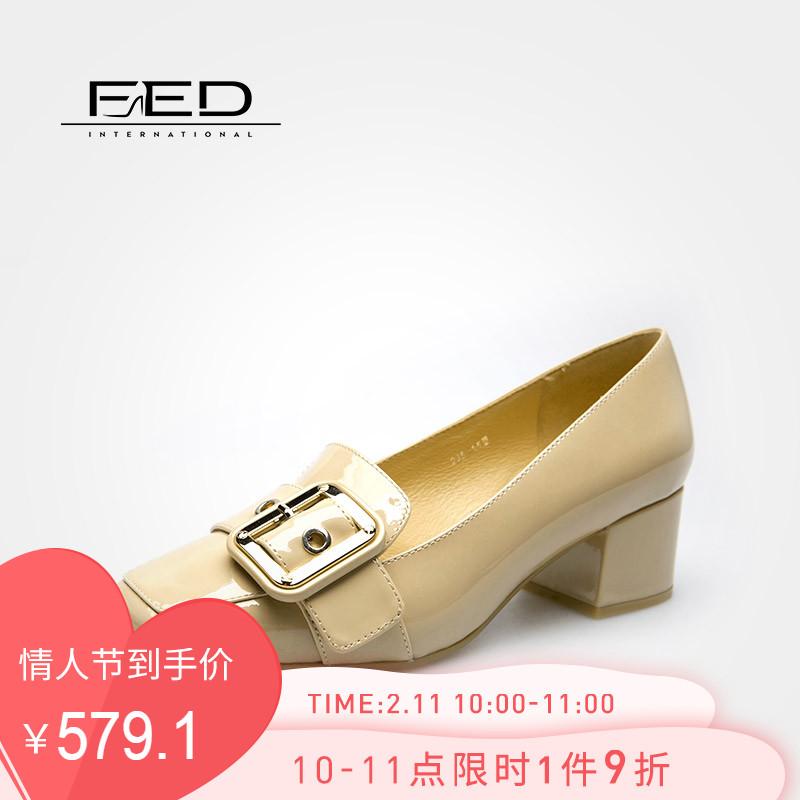 fed2019新款女鞋春季复古方头通勤OL皮带扣漆皮粗跟单鞋1882485