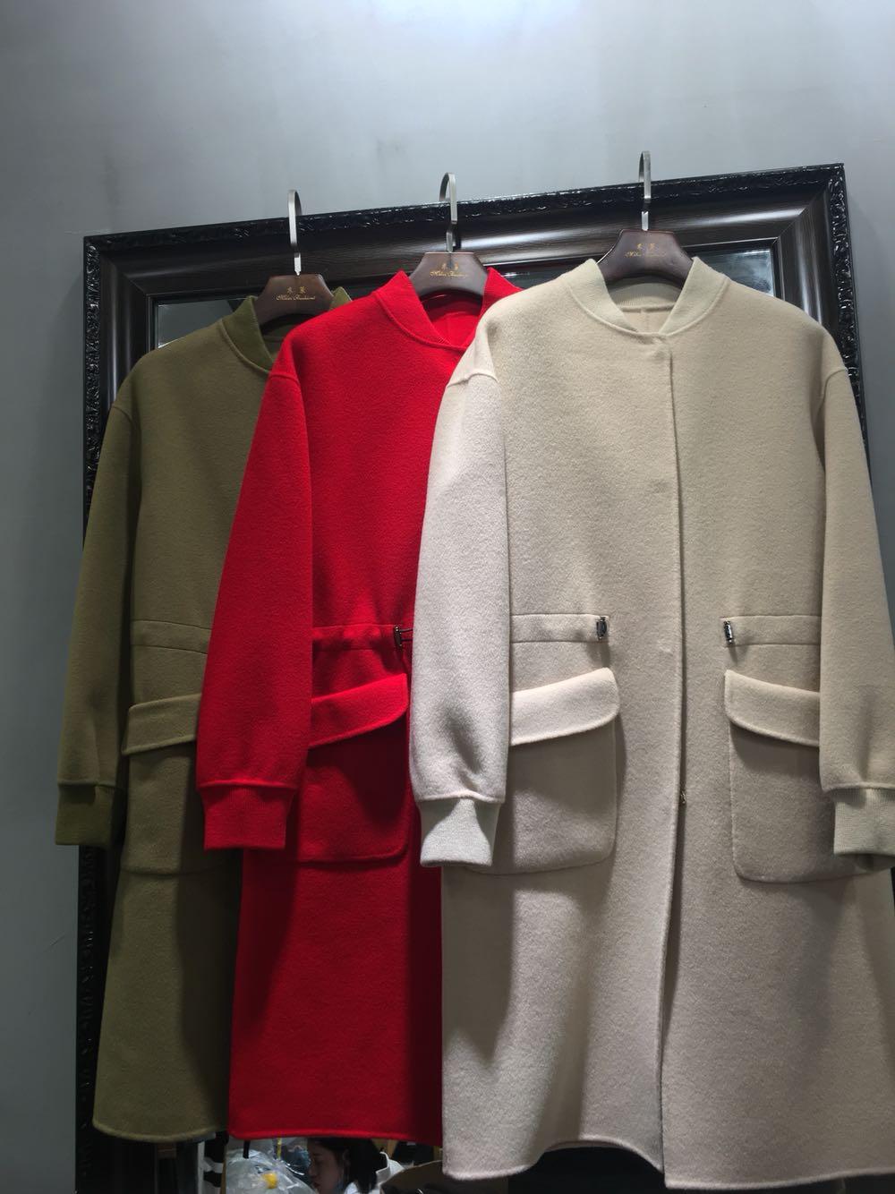17羊绒韩版潮双面服v羊绒款新品收腰中长款棒球大衣外套暗扣呢羊毛