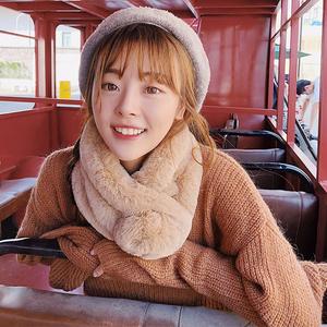 圍巾女秋冬純色仿兔毛軟妹保暖毛毛韓版毛球可愛毛絨圍脖百搭學生