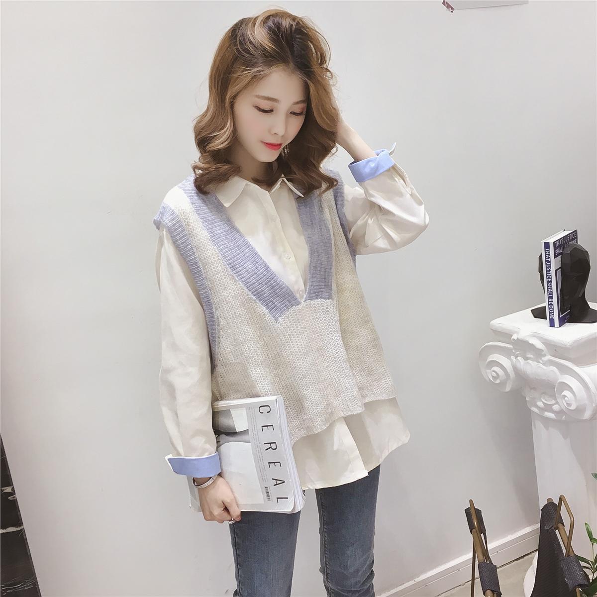 Ранняя осень 2018 года новая коллекция Хан Фан Ма Хаймао v-образный вырез трикотажный жилет с рубашка комплект женщина популярный для отдыха два наборы