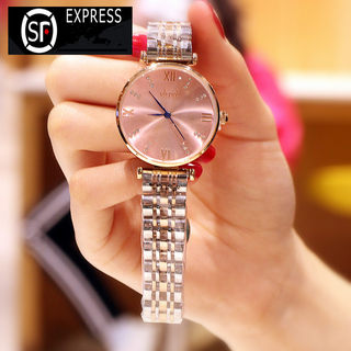 Counter genuine 2019 new watch ladies fashion diamond steel belt imported movement quartz waterproof student female watch