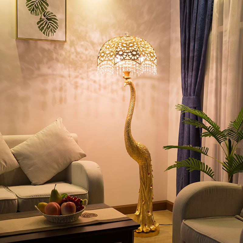 Control Feather Lampshade Gold Remote Switch Foot Bronze Lamp