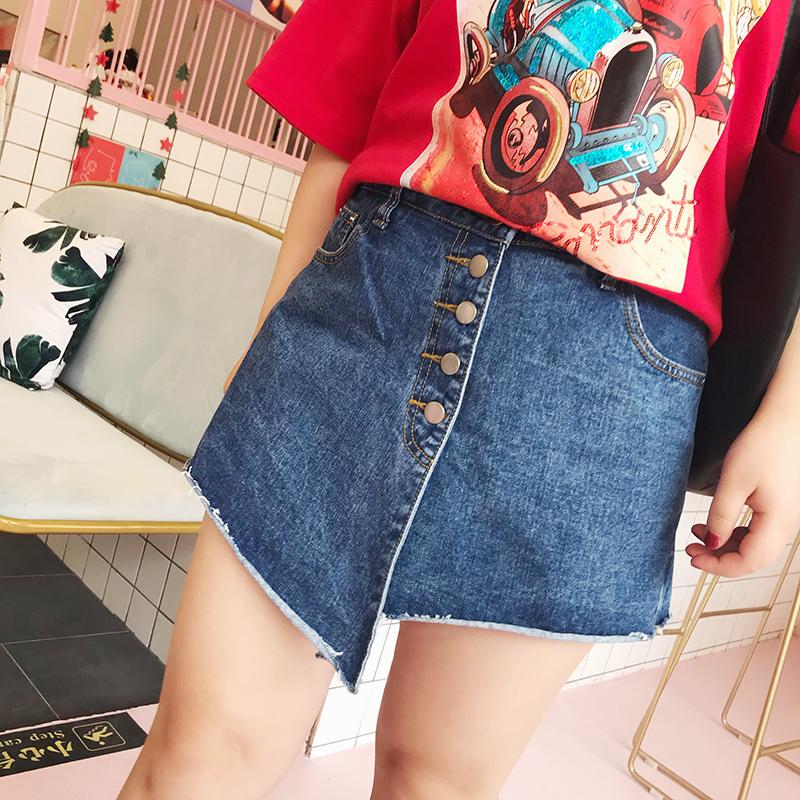 Женский большой размер 2018 новая весна и лето модель жир mm ковбой юбка-брюки личность асимметрия шорты однобортный A слово юбка-брюки