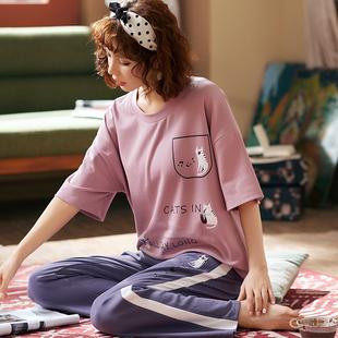 韩版春夏季短袖长裤睡衣家居服