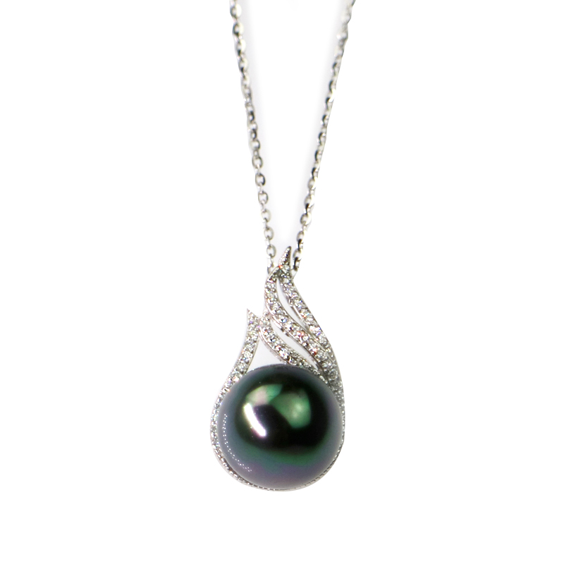 pearl l bridesmaid necklace black pendant single