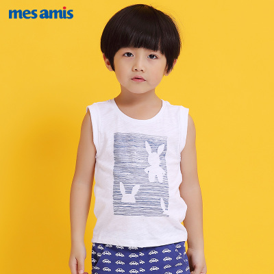 Meng Momo children's clothing 2017 summer new little boy vest cotton cartoon male baby vest counters authentic