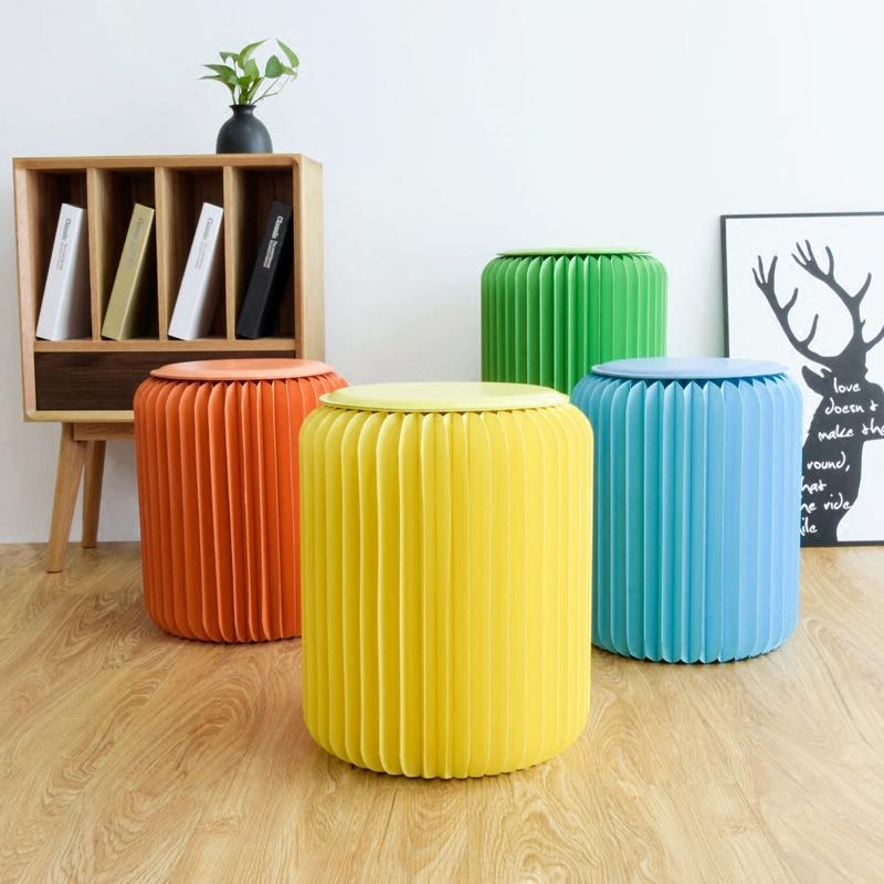 十八纸家具餐折叠纸凳时尚矮小功能ins北欧网红家用凳子创意圆凳