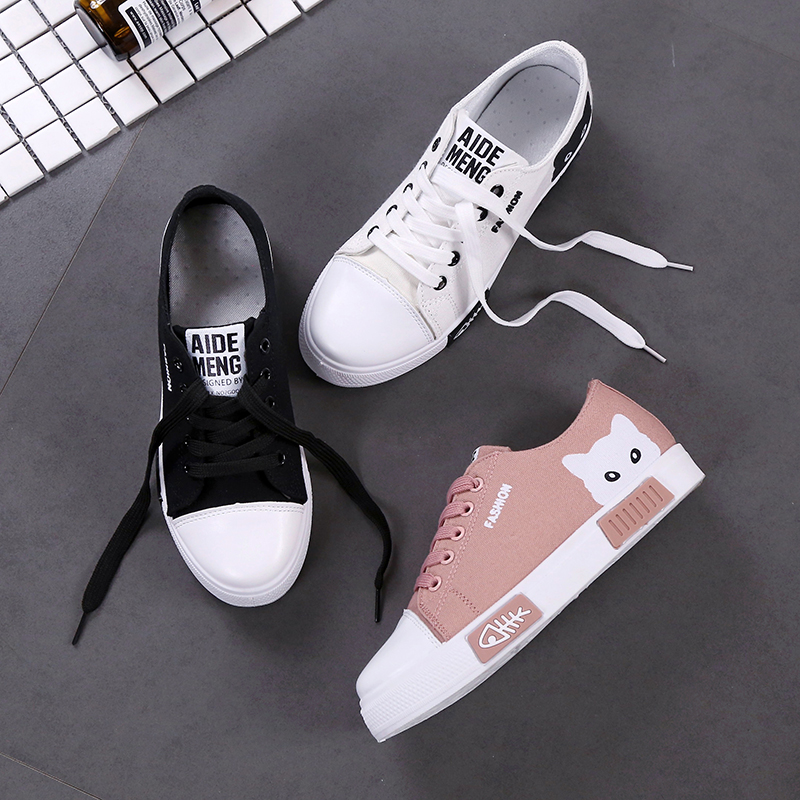 Korean Style Canvas Shoes women Spring And Autumn New Style Students White  Shoes Versatile Cute Sneakers Breathable Sports Footwear