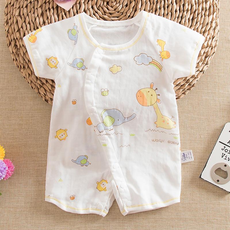 8ad48cc34072 USD 14.03  Summer baby cotton gauze short sleeve romper summer baby ...