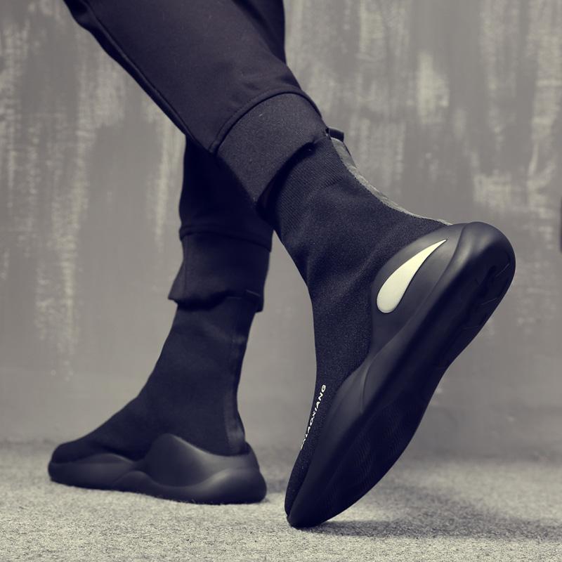 弹力袜子鞋高帮夏季男鞋透气嘻哈鞋子休闲板鞋运动韩版潮流袜鞋男