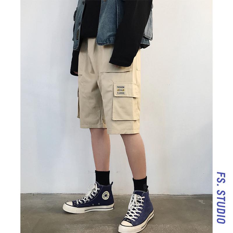 @方工装装夏季沙滩v工装潮流宽松韩版五分裤短裤中裤直筒裤子少男