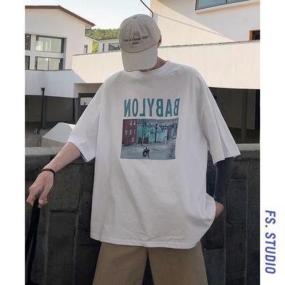 @方少男装 港风夏季宽松字母印花短袖T恤男士青年休闲圆领半袖衫