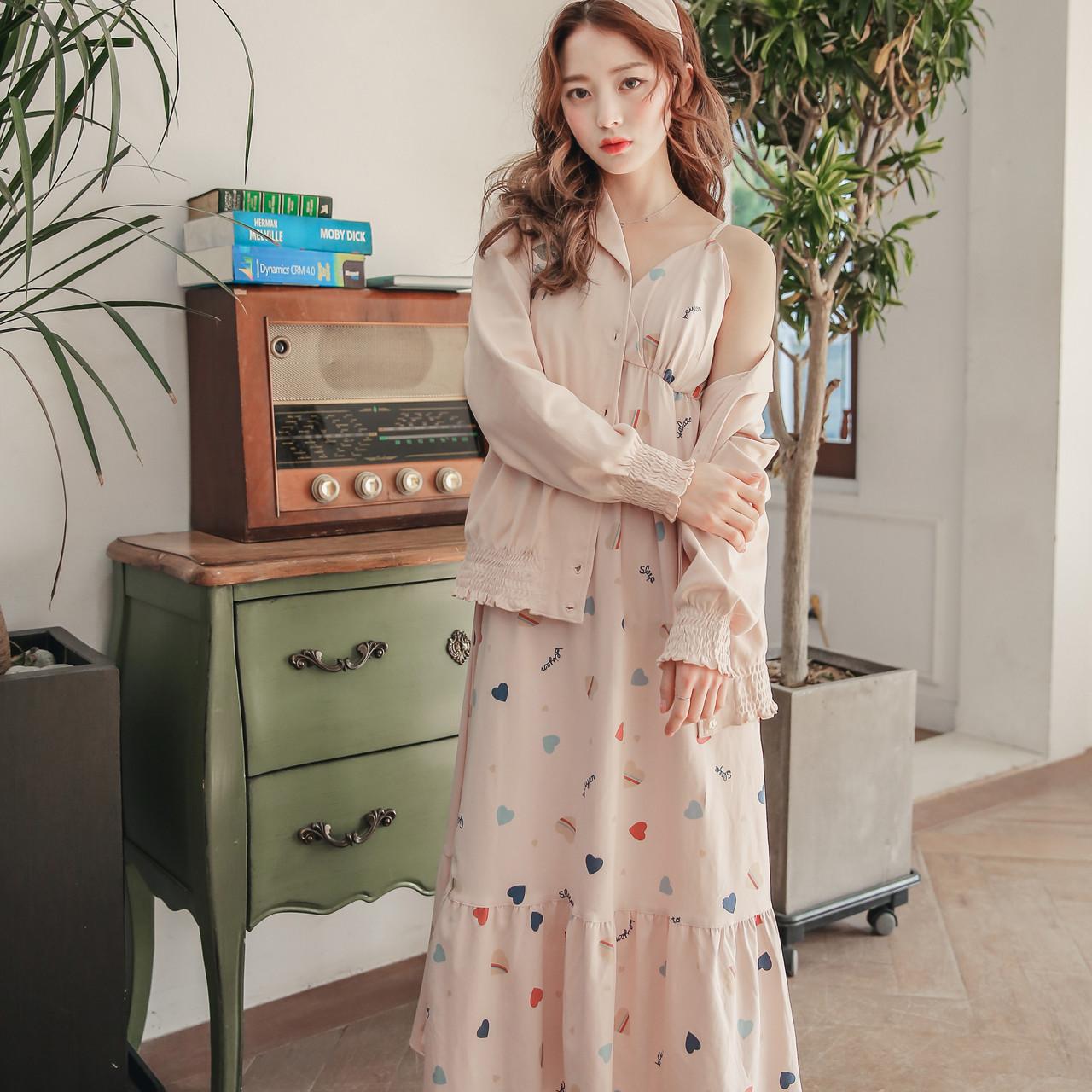 Lmsj孕妇睡裙韩版产后长裙月子服两件套