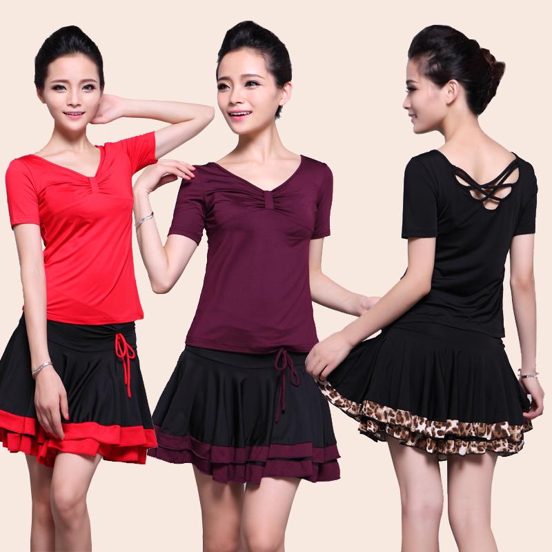 广场舞春夏季服装套裙上衣短袖短裙成人女拉丁舞团体练习表演服