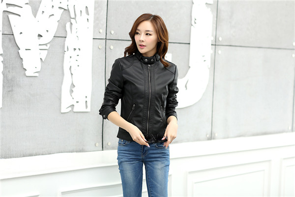 18 Fashion New Women's Jacket European Fashion Leather Jacket Pimkie Cleaning Single PU Leather Motorcycle Temale Women's Leat 4