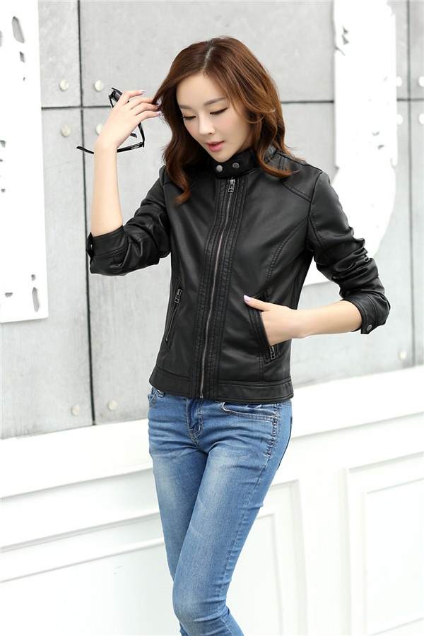 18 Fashion New Women's Jacket European Fashion Leather Jacket Pimkie Cleaning Single PU Leather Motorcycle Temale Women's Leat 1