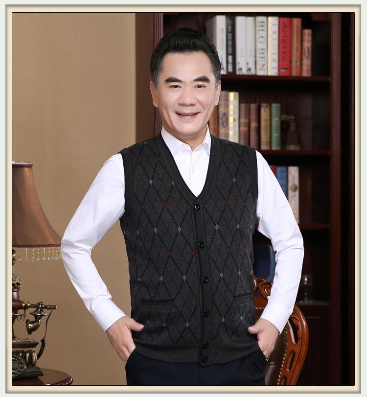 Mùa xuân quần áo trung và tuổi già len vest nam V-Cổ cardigan trung niên đan áo len vest người già vest vai cha