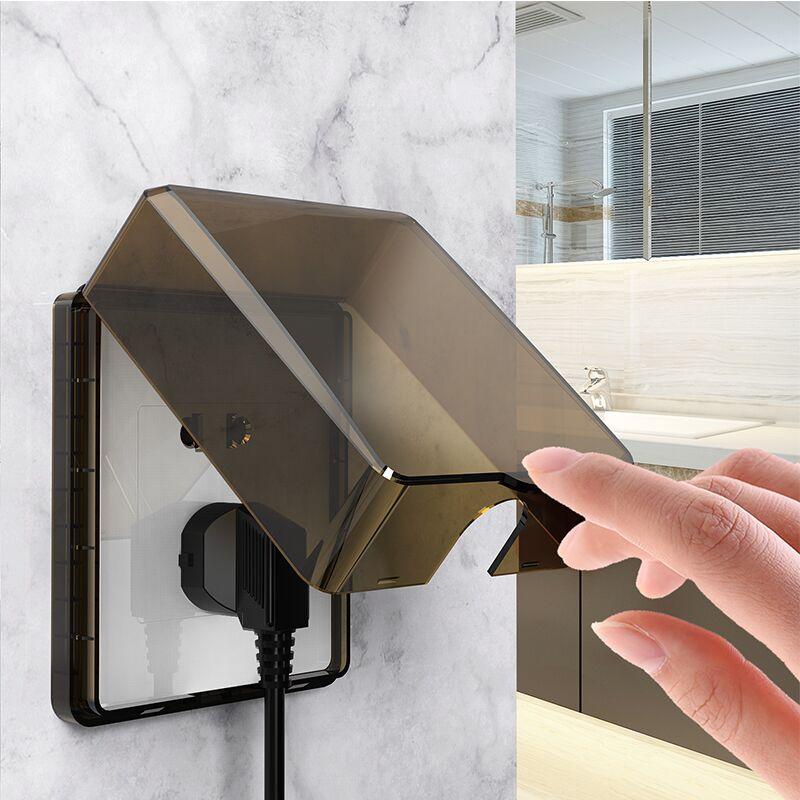 卫生间插座防水罩保护盖粘贴式浴室开关防溅盒86型自粘保护套防油