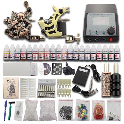 Complete starter tattoo kit 2 gun machine power supply set for Full tattoo kit