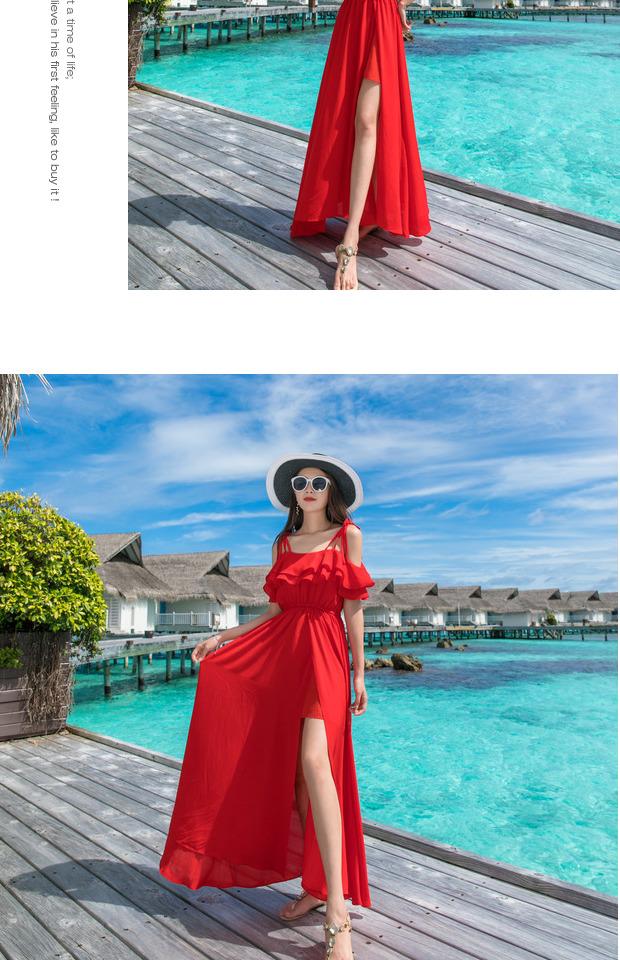 红色沙滩裙女夏新款海边度假三亚旅游拍照衣服超仙洋装长裙详细照片