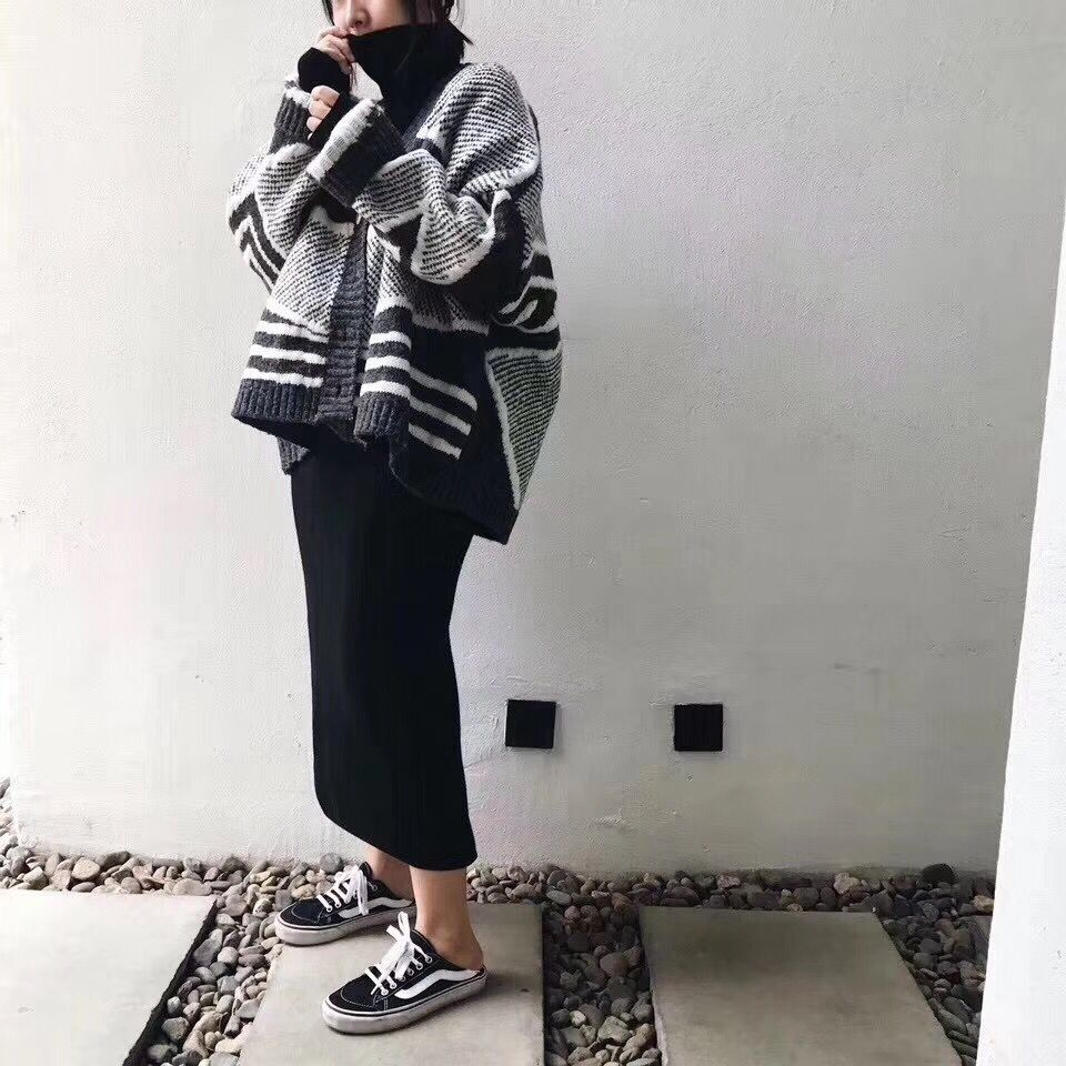 2017秋冬新款韩版高领加厚针织衫宽松套头小清新毛衣女学生bf打底