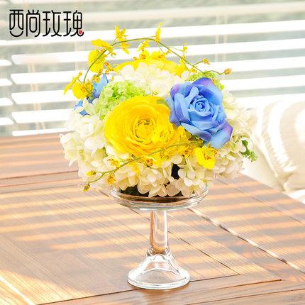 仿真假花绣球蓝白调插花艺摆件客厅卧室茶几餐