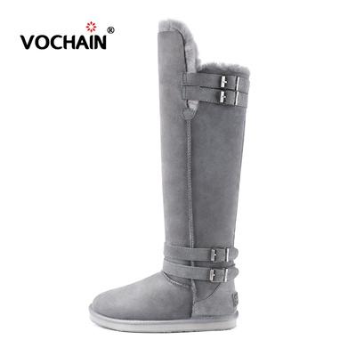 雪地靴女高筒羊皮毛一体冬季加绒保暖休闲平底靴子过膝长筒靴子女