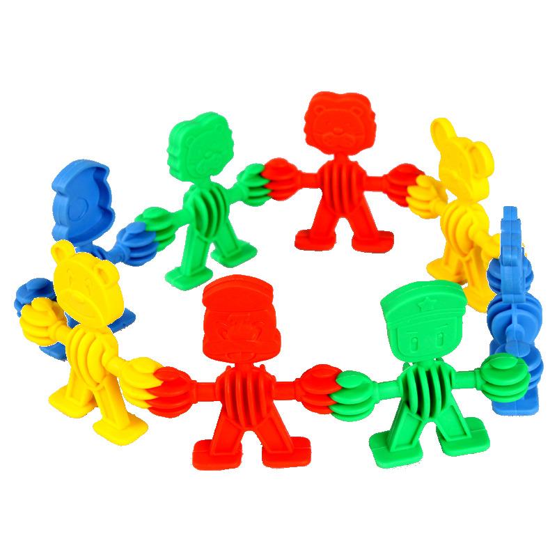 特价动物宝宝积木小精灵娃娃拼插积木塑料儿童益智幼儿园早教玩具