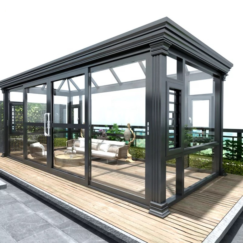 Beijing Shanghai Guangzhou sun room terrace custom courtyard glass house design broken bridge aluminum alloy doors and windows sealing balcony