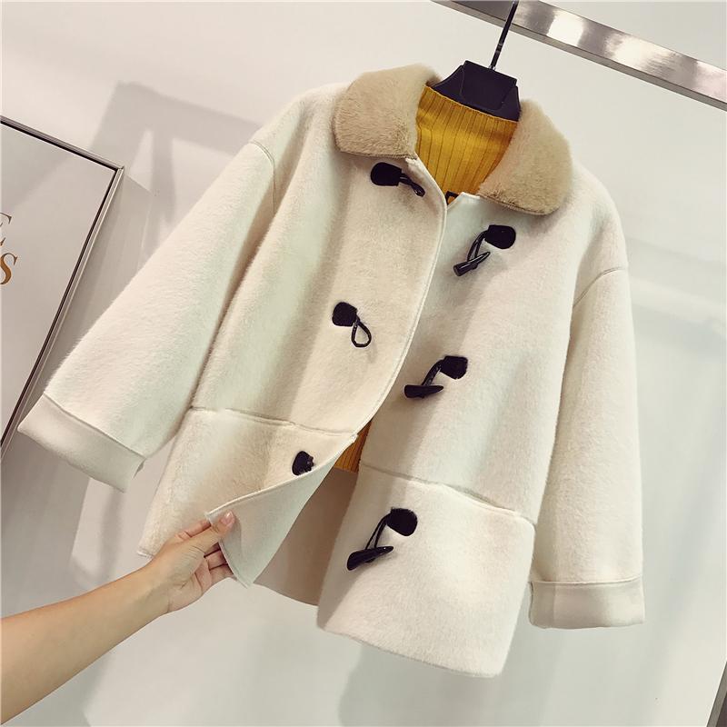Mohair croissant khóa cotton áo khoác nữ khí mùa đông Hàn Quốc áo ấm lông cổ áo khoác bông dày