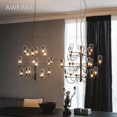 Modern minimalist and stylish new Chinese led glass restaurant chandelier / Nordic branch personality large living room ceiling lamp