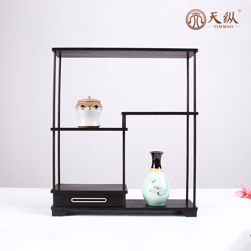 多宝檀小博古架茶具中式展示柜实木紫砂壶红木架子架置物架紫光阁