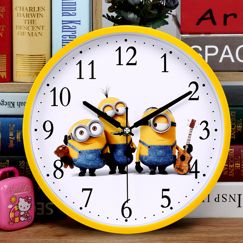 silent cartoon wall clocks living room bedroom clocks childrens room simple fashion quartz clock round clock creative table - Bedroom Clock