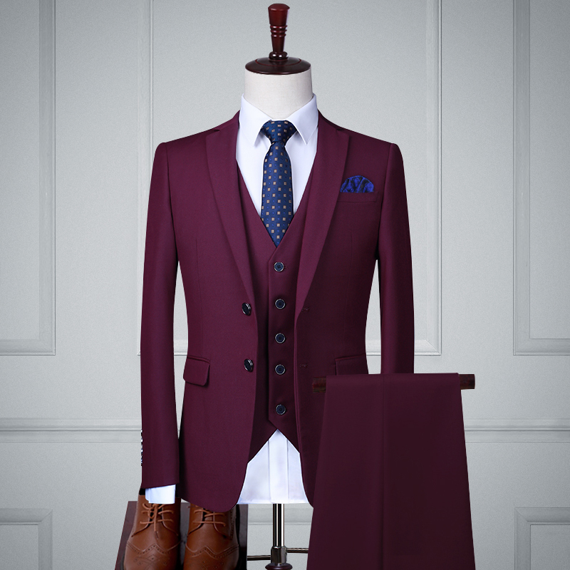 Fuchsia Double Buckle Three-piece Suit (top + Vest + Trousers)