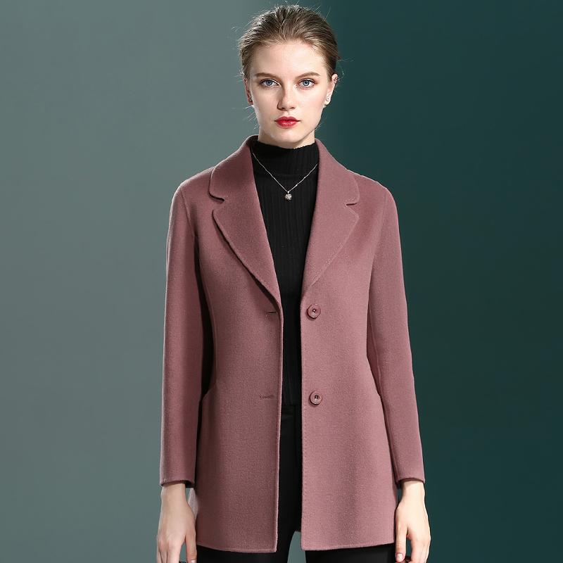 秋冬装羊绒呢大衣女大衣中年大码短款尼外套中老年妈妈羊毛双面