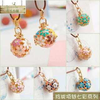 Mori girl style small fresh sweater chain pendant color matching carved aromatherapy ball pendant hollow sachet ball openable necklace