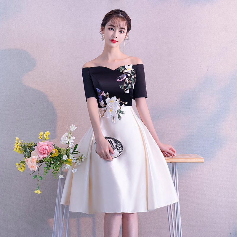 fc0c42500f3 Banquet evening dress female 2019 new word shoulder small dress skirt long  section party temperament ladies · Zoom · lightbox moreview · lightbox  moreview ...