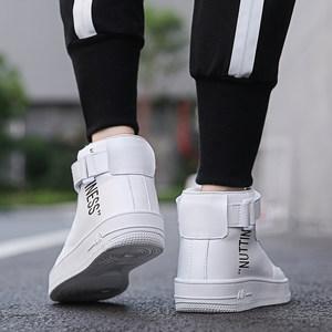 男鞋空军一号内增高鞋子男秋季韩版男士高帮鞋潮流学生白色板鞋
