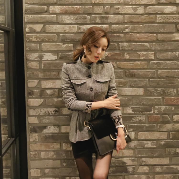 女装小长袖2019韩版新品外套上衣腰带修身收腰时尚冬装毛呢短款潮