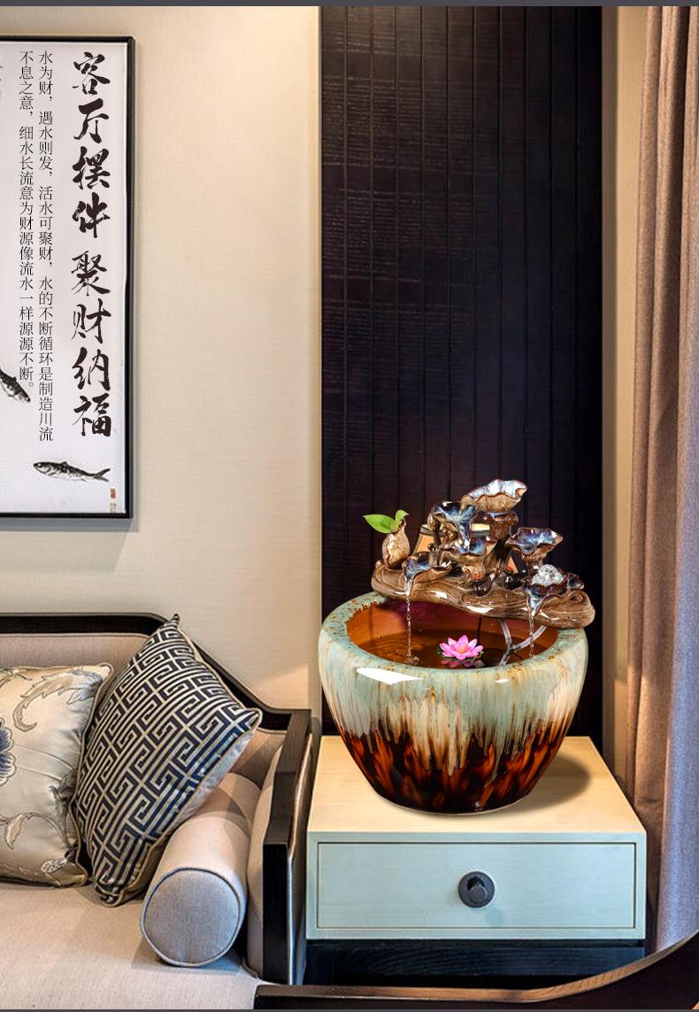 Jingdezhen ceramic goldfish bowl sitting room balcony office furnishing articles water tank to filter the yard cylinder fish bowl