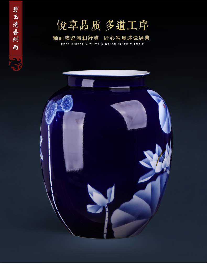 Jingdezhen ceramics famous hand - made furnishing articles sitting room blue and white porcelain vase flower arranging antique Chinese style household ornaments