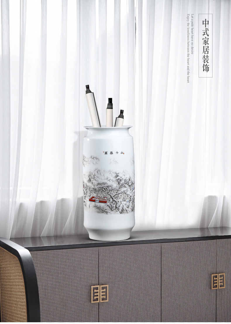 Jingdezhen ceramics, vases, flower arranging new Chinese style household furnishing articles sitting room the receive painting and calligraphy calligraphy and painting scroll cylinder barrels